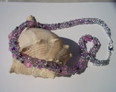 Pretty in pink, silver necklace, frosted light pink glass beads, hand knit in Canada, pink and purple seed beads, sea glass beads, lavender