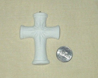 Cross with Celestial Star in middle    3 inch    ceramic bisque    4 U 2 paint