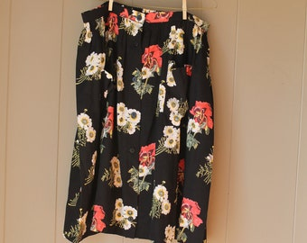 40s 50s Gladiolas Skirt Black shiny viscose gathered skirt floral skirt coral flower print gladiolas  Pockets  Buttons