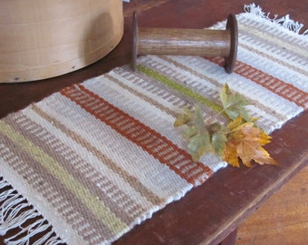 Rustic Fall Decor Harvest Table Runner, Primitive Cabin Country Cottage Farmhouse Decor Autumn Thanksgiving Artisan Hand Woven Table Mat
