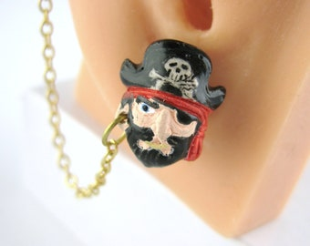 Cuff Chain Earrings - Pirate Earrings Ear Cuff Dangle Gold Chain Earcuff