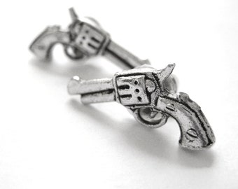 Revolver Gun Earrings -  Sterling Silver Western Jewelry - Cowgirl Jewelry - Western Earring Studs - Police Wedding