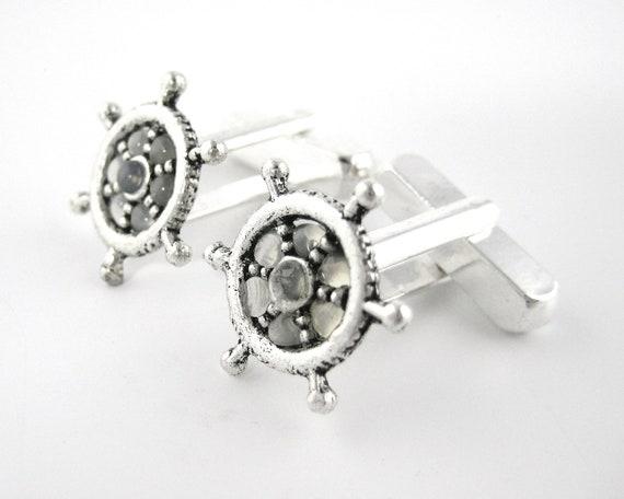 Silver Ship Wheel Cufflinks
