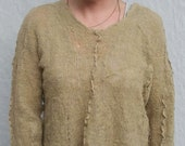 Mustard Pullover Sweater - Hand Knit & Felted - Artfully Deconstructed