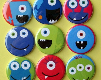 Monster Magnets - Set of Nine 1.25 Inch Button Magnets Packaged in a Custom Box