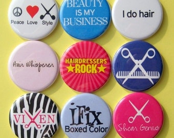 Hairdresser Magnets - Set of Nine 1.25 Inch Button Magnets Packaged in a Custom Box