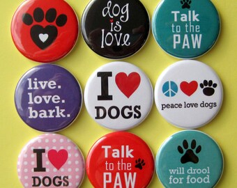 Dog Lover Magnets - Set of Nine 1.25 Inch Button Magnets Packaged in a Custom Box