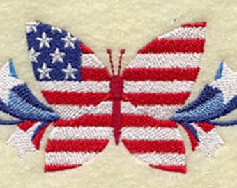 Patriotic Butterfly Embroidered Quilt Block Square or White Hand Towel