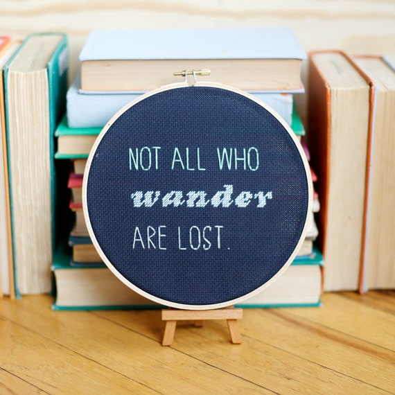 not all who wander are lost // wall hanging hoop // rugglesmade