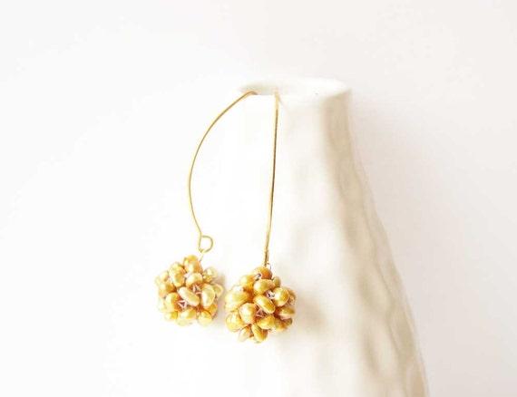 Cluster Earrings - Gold Pearl Earrings - Bridal Jewelry, Freshwater Pearls, Bronze, 24K Vermeil, Long, Modern, Wedding Accessory, Jewellery