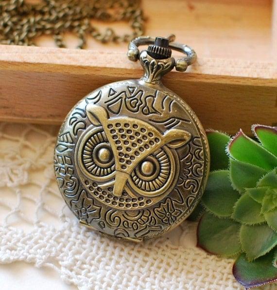Owl Pocketwatch Necklace Bronze Customized