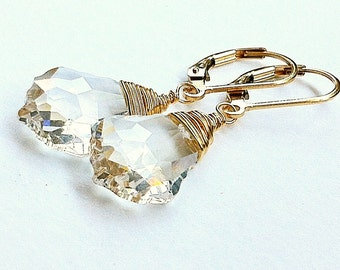 Swarovski Baroque Crystal Wire Wrapped Gold Earrings