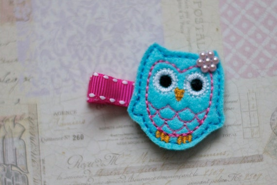 Owl Hair Clip - Felt Owl Turquoise with Pearl - Baby Clip