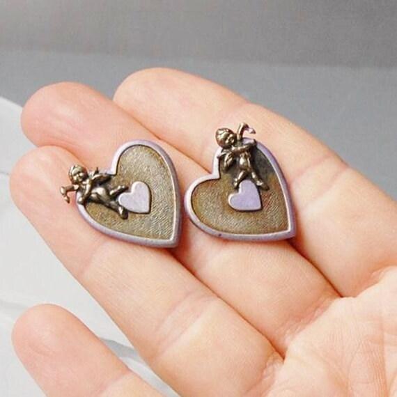 Cupid heart earrings vintage purple and oxidized silver metal