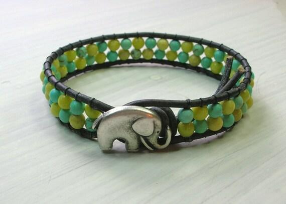 Elephant bracelet - Lucky Girl - southwestern hippie chic, wrap bracelet, turquoise lemon-lime gemstone, bohemian lucky charm