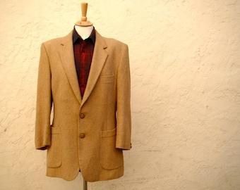 Vintage 70s / Men's / Camel / Wool / Blazer / Suit Coat / MEDIUM/LARGE