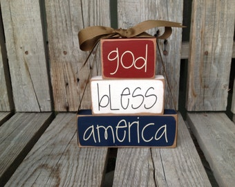 God Bless America Wood Block stacker independence summer flag military 4th of July America primitive country americana home decor