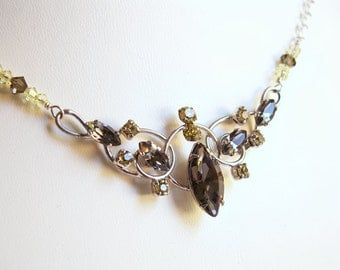 Reworked Vintage Pendant Necklace Van Dell Sterling Swarovski Crystal Faceted Beads Smoky Brown Yellow Feminine Swirl Adjustable Chain