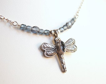 Blue Dragonfly Necklace Sterling Pendant Blue Topaz Marquise Cabochon Montana Blue Glass Beads Sterling Chain Insect Garden Summer Delicate