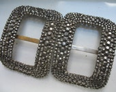 Vintage French Cut Steel Shoe Buckles / Clips