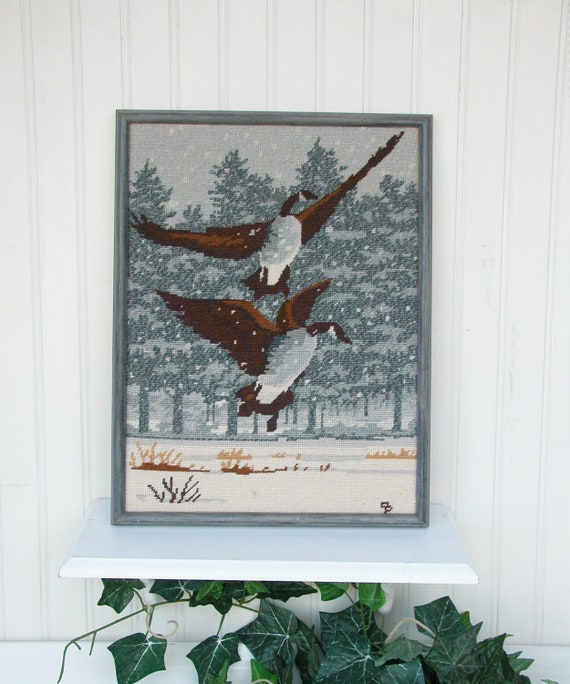 Vintage Framed Art- Pair of Canadian Geese- Wool Needlepont