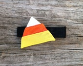 Candy Corn Hair Clip, Orange, Yellow, and White Candy Corn Ribbon Sculpture Hair Clip, Halloween Candy Hair Clip, FREE SHIPPING PROMO