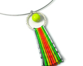 Upcycled Neon Necklace, Cute Pendant,  Fun and Funky Jewelry, Repurposed