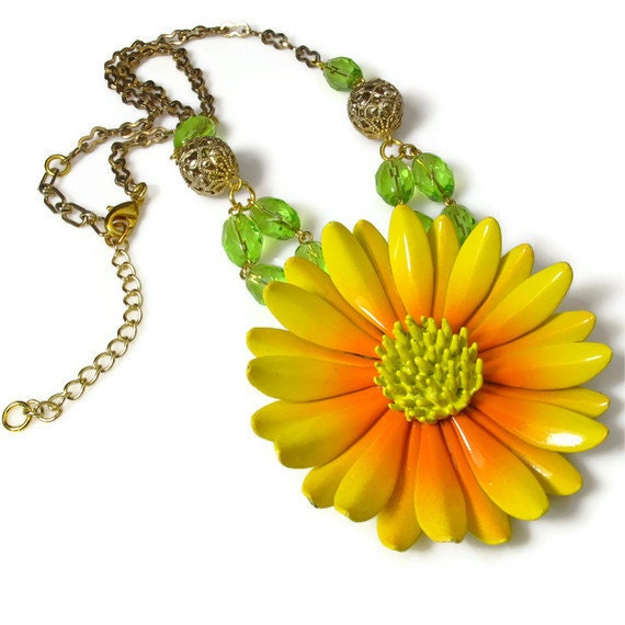 Bold Yellow Flower Statement Pendant, Upcycled Jewelry