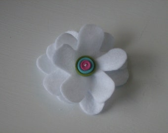 White large flower hair alligator clip with blue, green, pink, red, purple or any color layered buttons