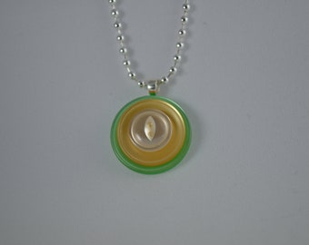 """Sterling silver with green, light peach, & white vintage buttons, pendant necklace, 18"""""""