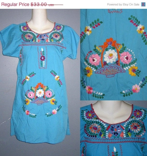 50% OFF- 70s Oaxacan Dress Mexican Embroidered Mini Tunic XS