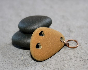 Engraved Stone Supplies- Drilled Beach Pebble Bead- Brown Chocolate Pendant, Focal by Allybeans