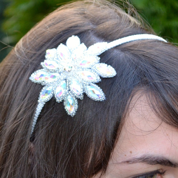 Sparkly Gem Snowflake Headband for Women Teens Flower Girl Handmade by Jill's Boutique