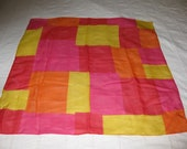Vintage  Red Yellow Orange and Pink Geometric scarf