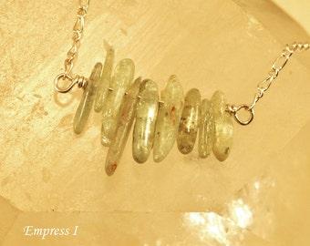 SALE - Green Kyanite Necklace, Sterling Silver Necklace, Kyanite Jewelry, Kyanite Necklace, Silver Jewelry, Gemstone Necklace, Meditation