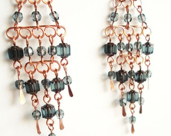 Handmade Copper Chandelier Earrings with Blue Grey Glass Beads