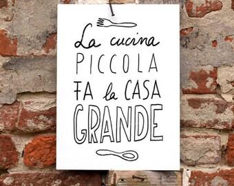 11x15' LA CUCINA - italian kitchen print italy art quote typographic - archival fine art giclée print