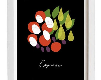 "Italian Print Caprese BLACK 11"" x 15"" / high quality fine art giclée print"
