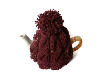 hand knitted tea cozy  cable tea cosy wool uk seller
