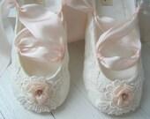 Desiree Ballet Shoes, Ivory Lace Blush Pink Slipper For Flower Girl, Bobka Shoes by Bobka Baby