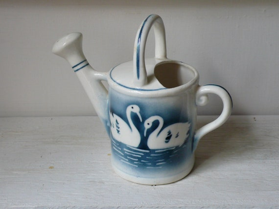 Blue and White Ceramic Watering Can