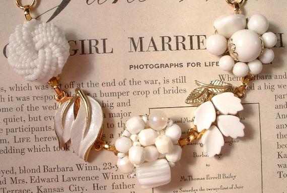 Vintage Wedding White Milk Glass & Gold Bridal Bracelet, Heirloom Cluster Earring Bracelet OOAK