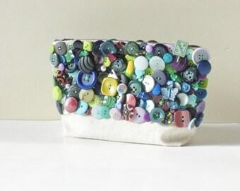 Blue Clutch- Handbag- Button Covered Bag