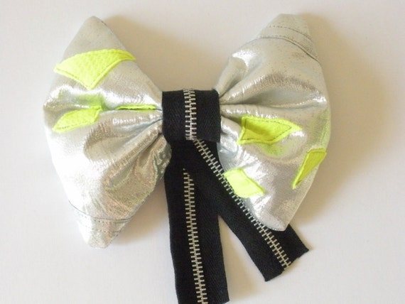 Silver Hair Bow, Silver and Neon Green, Sci-Fi Shiny Cyber Goth