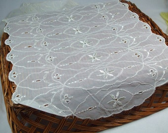 Nylon white  Vintage Embroidered Table Scarf rectangle two piece set
