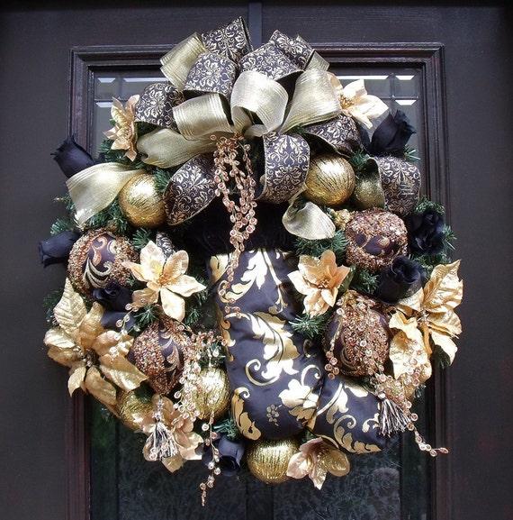 Designer Christmas Wreath Black and Gold Stocking Door Wreath Glitzy Christmas Decoration Elegant Wreath