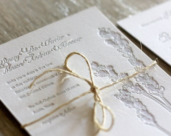 Letterpress Lavender Wedding Invitation Sample
