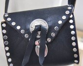 1970s Kate Moss Style Rock Chick Tooled Leather Bag - So cool