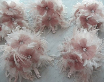 12 piece Ivory,Champagne,Pink ostrich fringe feather bridal/bridesmaid bouquet package