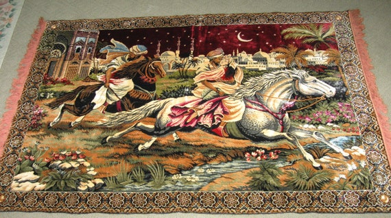 Vintage Arabian Nights Huge Tapestry Rug Wall Hanging Arabic